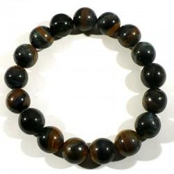 Bracelet en oeil de tigre et oeil de faucon perles rondes 12mm