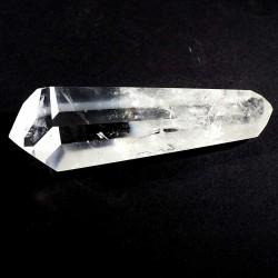 pointe biterminée polie en cristal de roche du Brésil