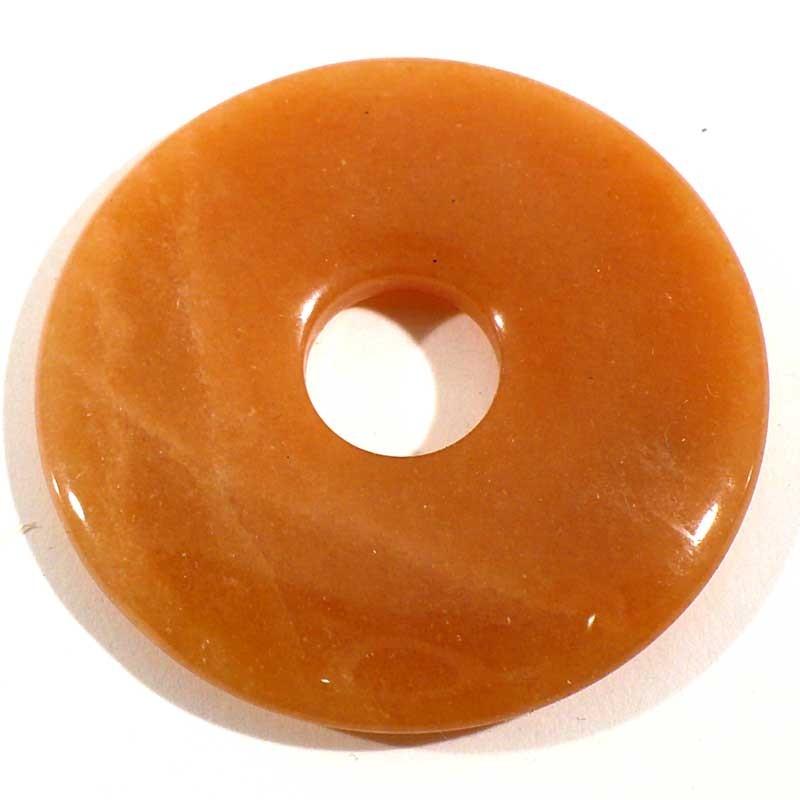 Pendentif donuts en aventurine orange 4cm
