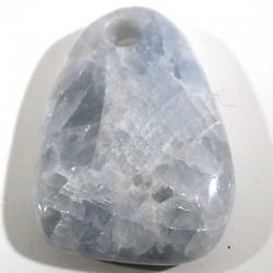 Pendentif galet plat en calcite bleue 4cm