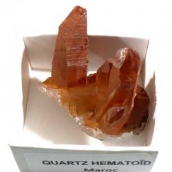 Quartz hématoïde du Maroc - boite de collection 4cm