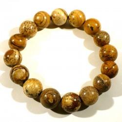 Bracelet en jaspe paysage perles rondes 12mm