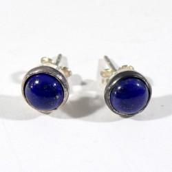 puces serties argent en lapis-lazuli