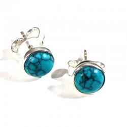 puces d'oreilles en Turquoise serties argent